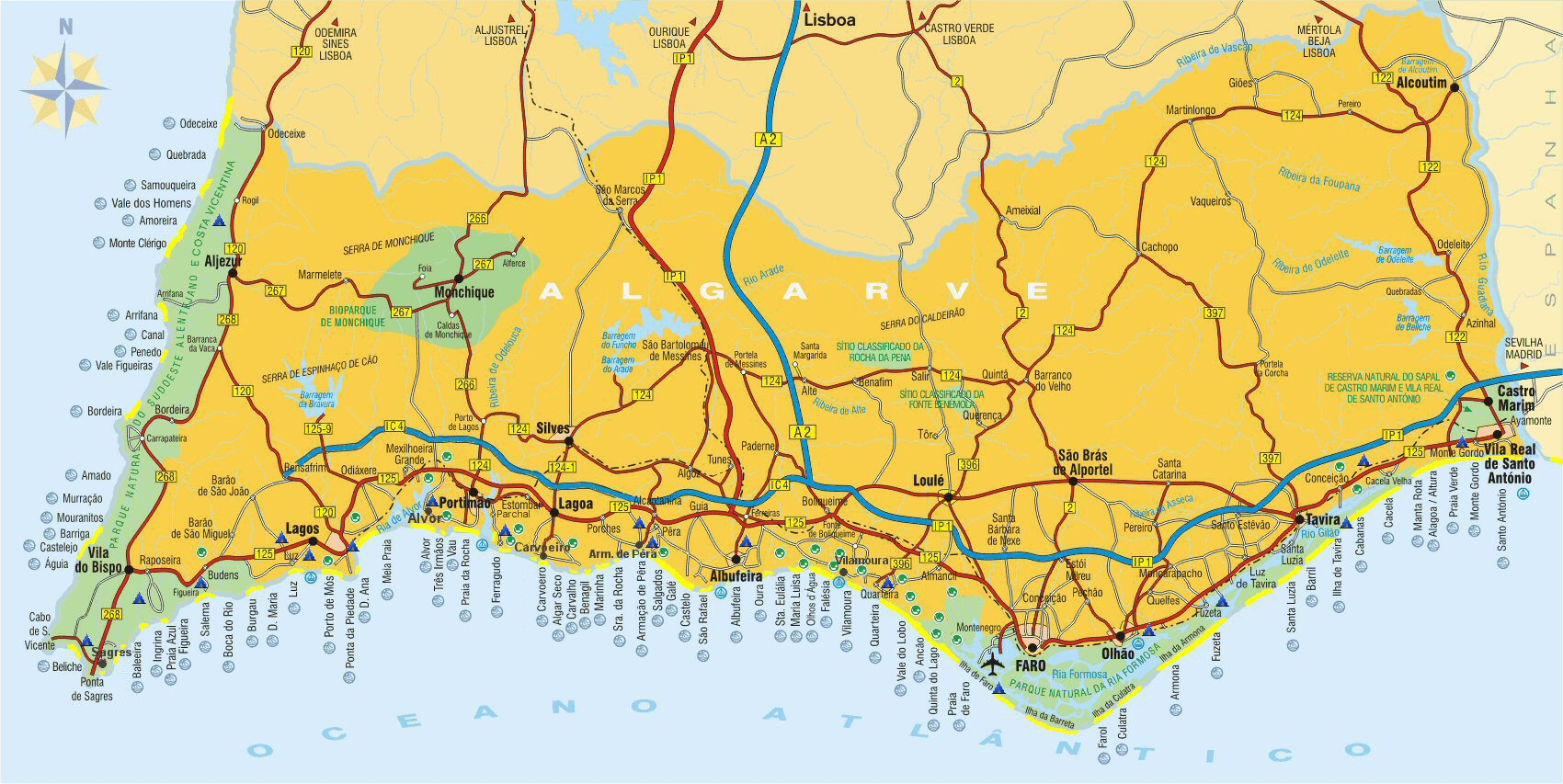 algarve kartta Map of the Algarve | ALGARVE UPDATE algarve kartta